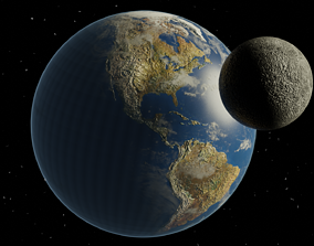 3D asset Earth and Moon