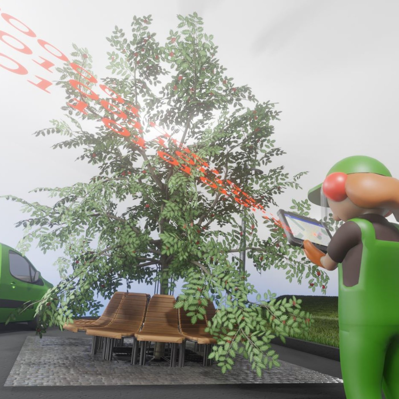 Cutting the Tree with a Chainsaw (Blender-2.90.1 Eevee)