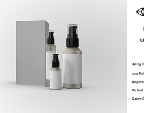 3D asset Cosmetic Spray Bottle Kit Mockup Realistic Low 3