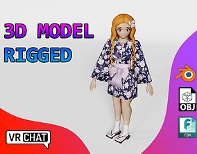 3D model Vrchat character - Kimono Anime Girl