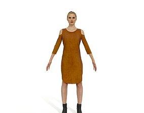 Blonde woman in a light brown dress 3D asset