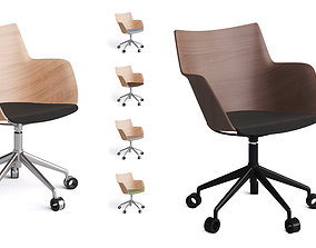 3D model Chair Kartell Q-Wood on casters