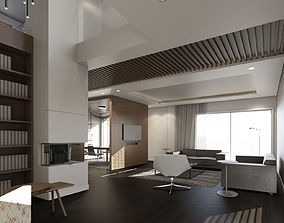 3D model Contemporary Interior Design rendered with Revit
