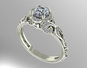 3D print model printable Vintage style engagement ring