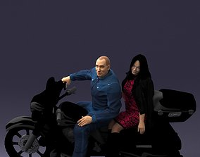 Man and woman on black motorcycle 0094 3D Print Ready