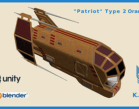 Spaceship Patriot Type 2 Orange 3D model