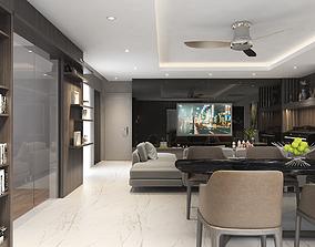 3D model Apartment livingroom modern sofa