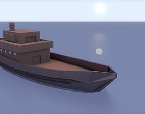 Low-Poly Ship 3D asset