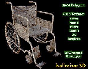 3D asset low-poly Wheelchair - Old Textured