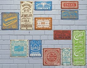 3D asset Vintage metal plates