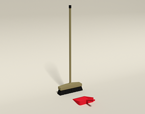 Low Poly Cartoon Broom and Dustpan 3D asset low-poly