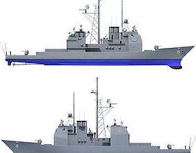 3D model Blue USS Port Royal Missile Cruiser