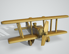 Wooden Airplane Toy 3D asset