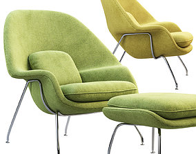 3D model Womb Chair and Ottoman midcentury