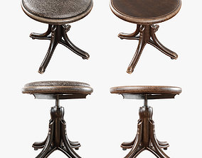 3D model shabby aged screw stool for piano