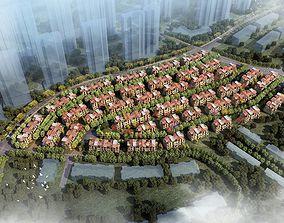 Suburban building complex 036 3D