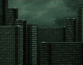 3D model 5 Highpoly Futuristic Slum Buildings