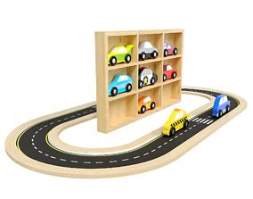 Doug Wooden Car Set and road 3D model