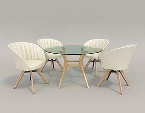 Contemporary Design Table and Chair Set 3D