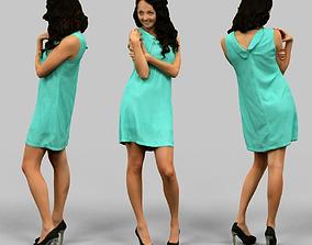 Woman in green dress 3D asset