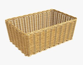 Wicker basket rectangular 01 medium brown 3D
