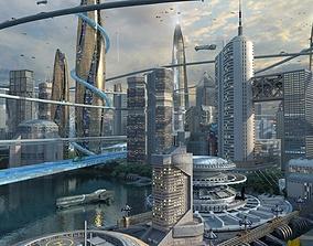 3D Future city 03 futuristic