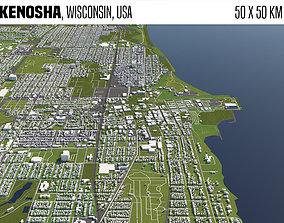 3D Kenosha Wisconsin USA 50x50km