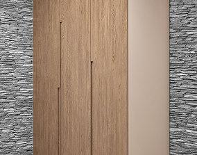 Wardrobe- Modern oak cabinet without handles 3D