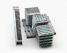 3D model Aluminium Zinc Nickel Silver Titan Steel ingot 10