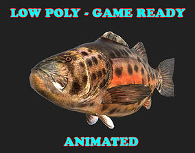 Low poly Giant Sea Bass Fish Animated - Game 3D asset