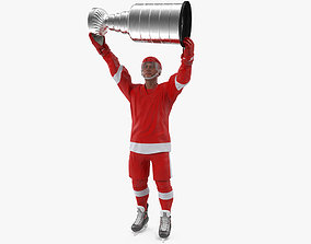 Hockey Player with Stanley Cup 3D model