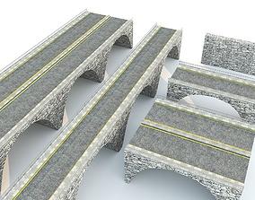 Modular Modern Stone Bridge Road modular kit 3D asset