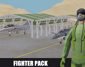 Fighter Jet French low poly pack 3D asset