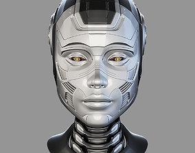mechanical 3D Female Robot Head