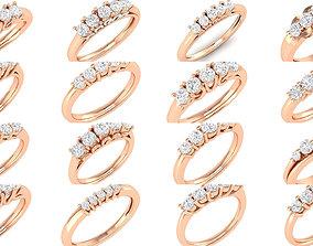3D model 5 diamonds band rings