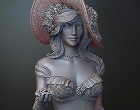 Woman with roses for print and high poly
