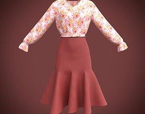 classy dress - ruffled blouse and skirt 3D model