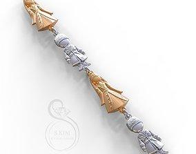 Caucasian boy and girl pendants and bracelete 3D model