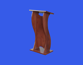 Wooden curved pulpit 3D asset