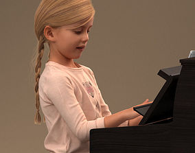 Little girl playing the piano 3D model