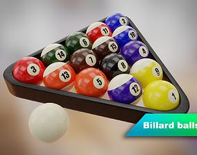 Billard balls with plastic triangle 3D