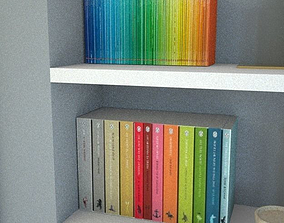 two sets of paperback books 3D asset