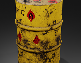 Metal barrel with elements of dirt rust and 3D asset