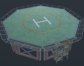 Helicopter industrial landing pad - helipad - 3D model