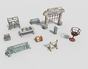 10 low poly dungeon props pack 1 3D asset