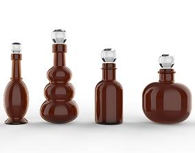 3D amber glass bottles