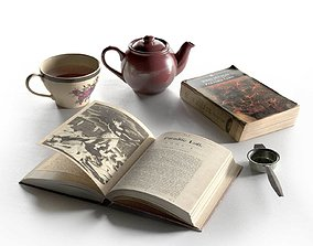 3D Tea Set with Books
