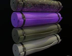 3D model game-ready Military and yoga bed roll