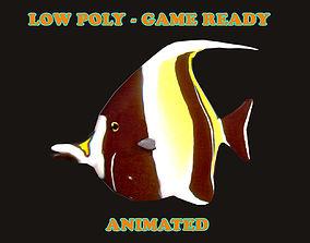 Low poly Moorish Idol Fish Animated - Game Ready 3D asset