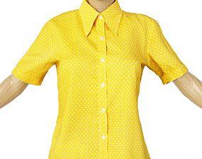 3D model Shirt Yellow Polka Dots Women Clothing